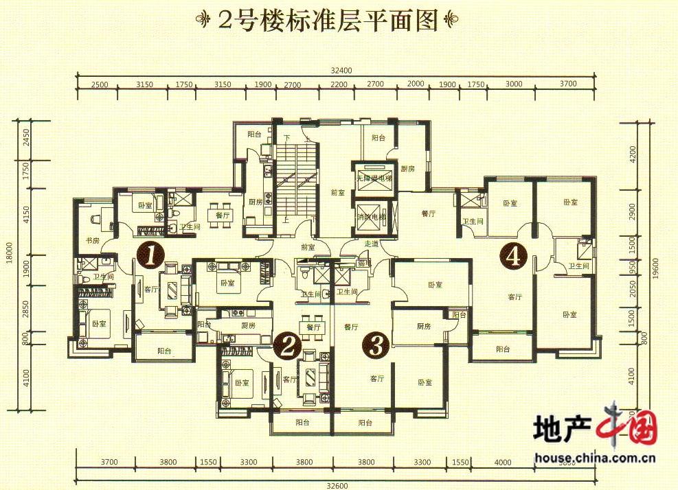 2号楼标准层平面图