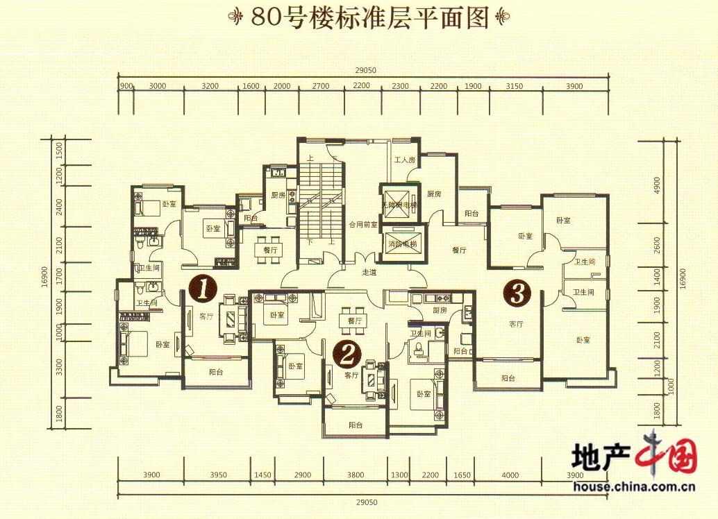 80号楼标准层平面图