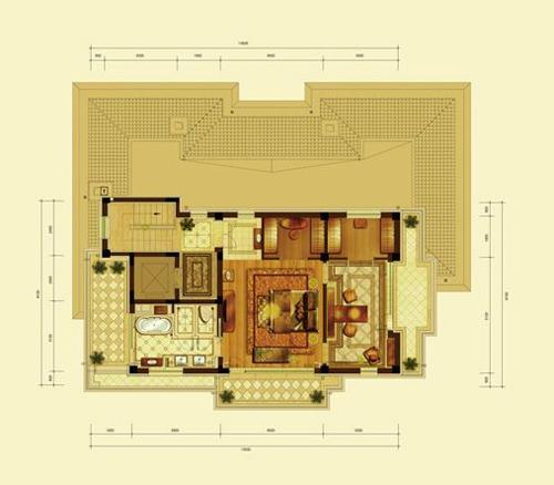 亿城燕西华府小独栋(五室六厅八卫约590平米)三层1室1卫104.27�O