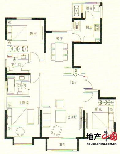 远洋万和城5号楼A6户型 143.9平