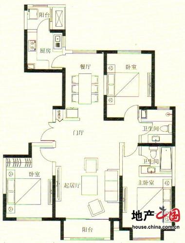 远洋万和城5号楼A7户型 130.77平米