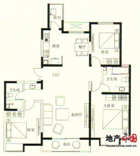 远洋万和城1号楼D拼合户型 163.79平