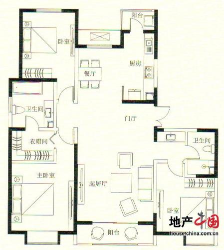 远洋万和城1号楼D拼合户型 175.40平