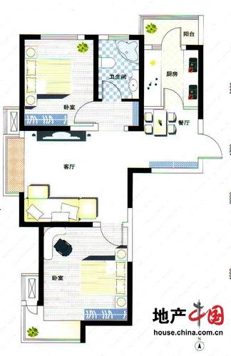 理想城C1户型 两室两厅一卫 88平 理想城 两室两厅一卫户型