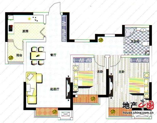 理想城B1户型 两室两厅一卫 92平 理想城 两室两厅一卫户型