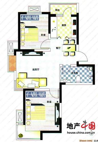 理想城B1户型 两室两厅一卫 88平 理想城 两室两厅一卫户型