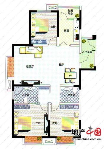 理想城D1户型 三室两厅两卫 127平 理想城高层三室两厅两卫户型