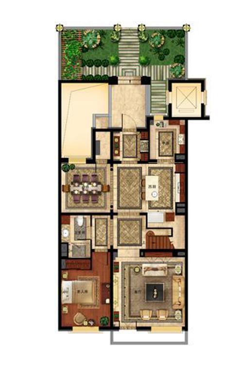 华润置地・润西山叠拼三层户型图1室2厅1卫1厨