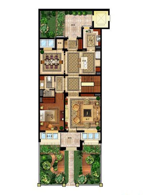 华润置地・润西山叠拼一层户型图1室2厅1卫1厨
