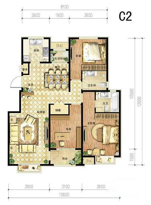 中国铁建・北京山语城c2户型图3室2厅2卫1厨 125.00�O
