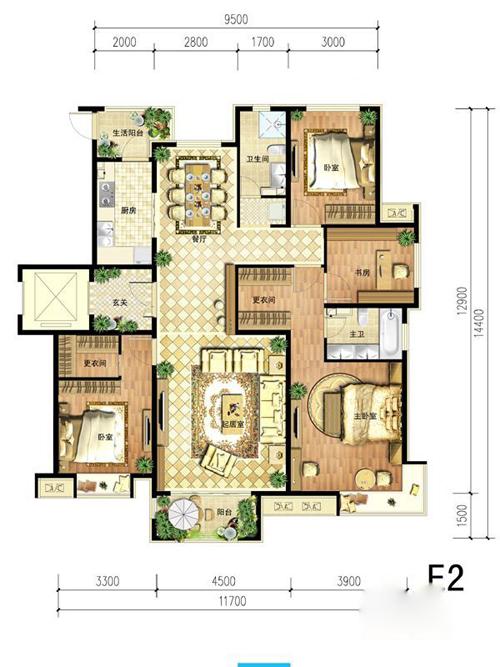 中国铁建・北京山语城E2户型图4室2厅2卫1厨 160.00�O