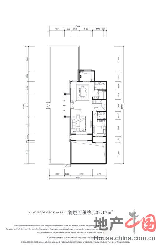 金科王府叠墅户型首层1室2厅2卫1厨 203.03�O