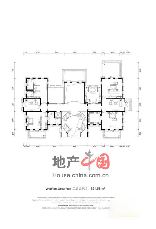 金科王府二层户型图4室3卫 394.55�O