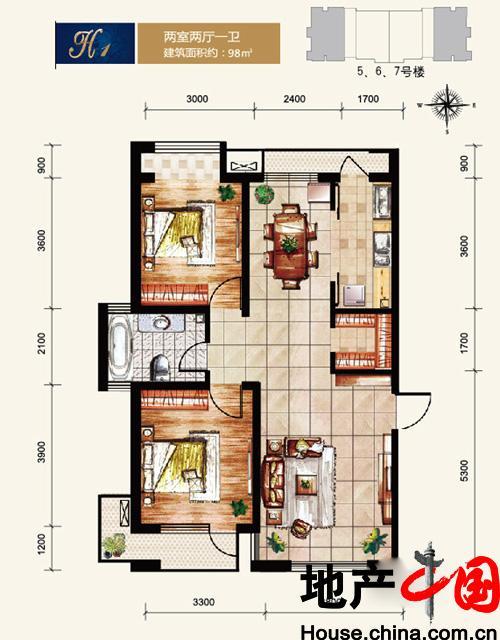 爱方城5#6#7#H1户型2室2厅1卫1厨 98.00�O