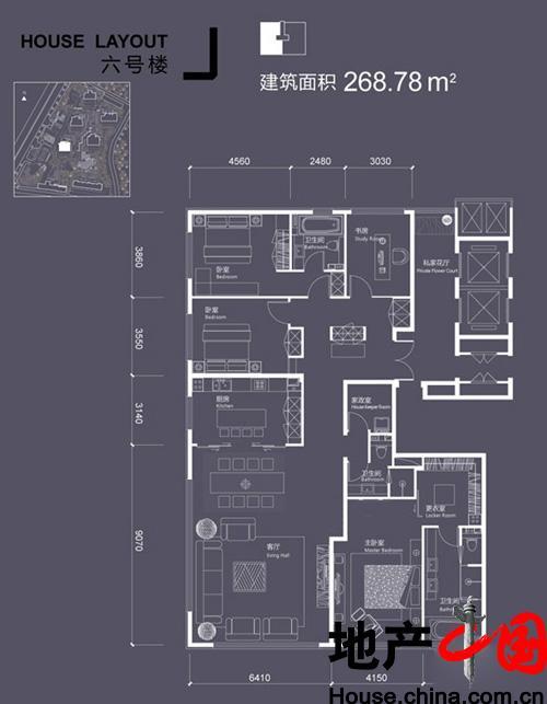 红玺台6号楼J户型4室2厅3卫1厨 268.78�O