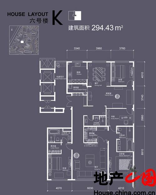 红玺台6号楼K户型4室2厅3卫1厨 294.43�O