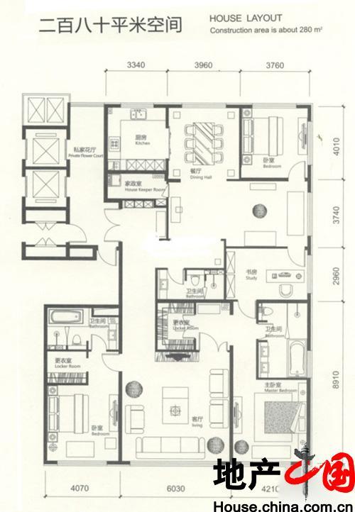 红玺台四居户型图4室2厅3卫1厨 280.00�O