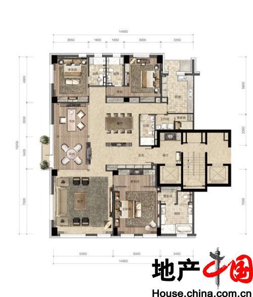 万柳书院D户型标准层户型图 336.00�O