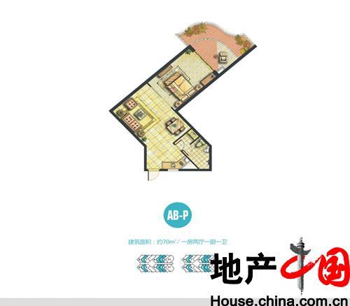 世茂・怒放海船长公寓AB-P户型图1室2厅1卫1厨 70.00�O