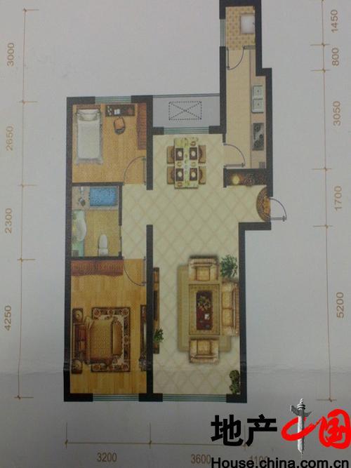 TBD云集中心C户型户型图2室2厅1卫1厨 90.00�O