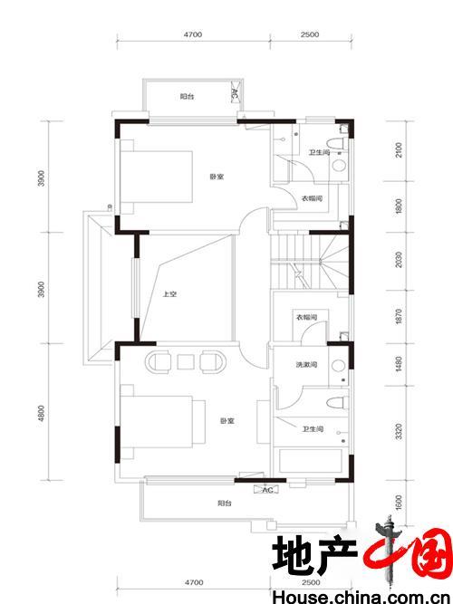 牛驼温泉孔雀城臻泉联院D2 地上二层户型图2室2卫 185.00�O