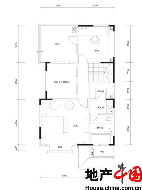 牛驼温泉孔雀城臻泉联院D2 地上三层户型图2室1卫 185.00�O