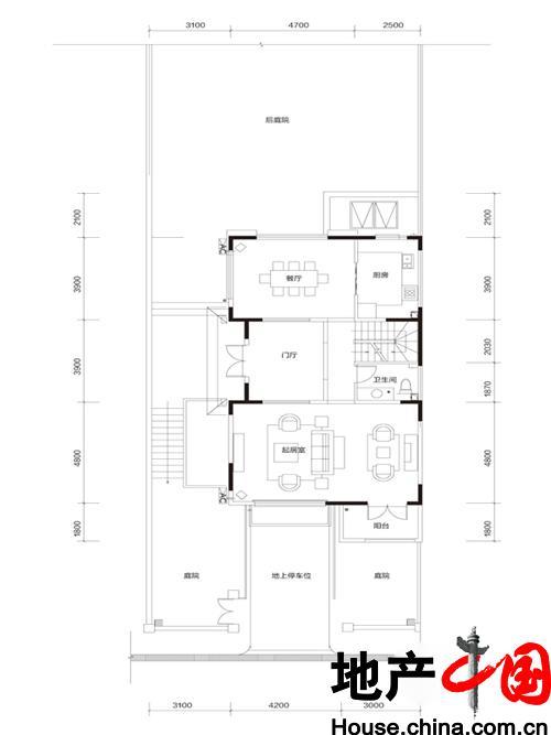 牛驼温泉孔雀城臻泉联院D2 地上首层户型图1室2厅1卫1厨 185.00�O