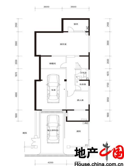 牛驼温泉孔雀城臻泉联院D2 地下一层户型图2室1厅1卫 185.00�O