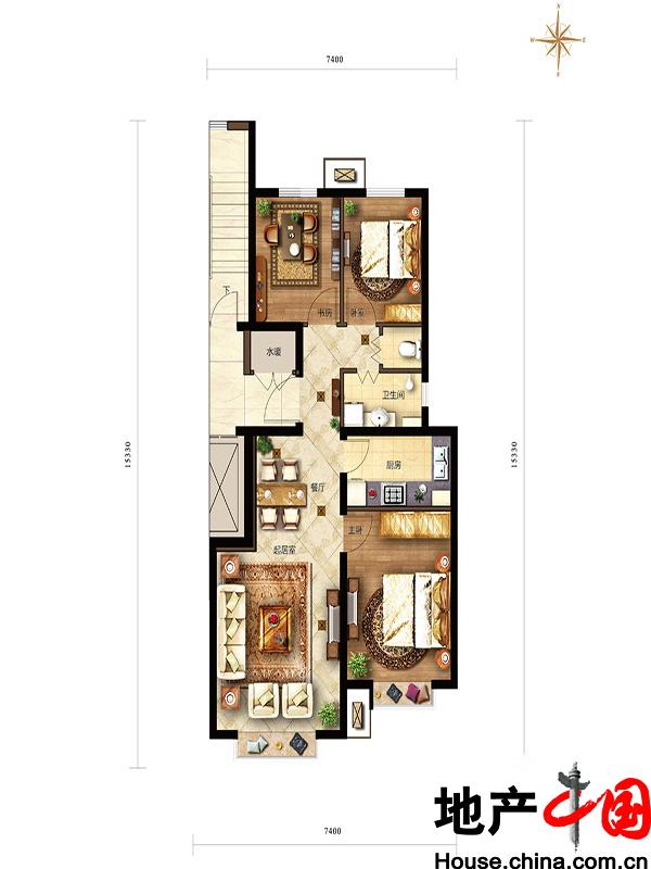 滟澜新宸住宅98三居中间户型3室2厅1卫1厨 98.00�O