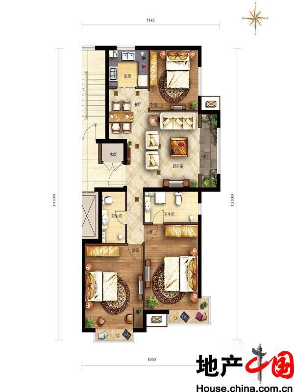 滟澜新宸住宅115边户三居型3室2厅2卫1厨 115.00�O