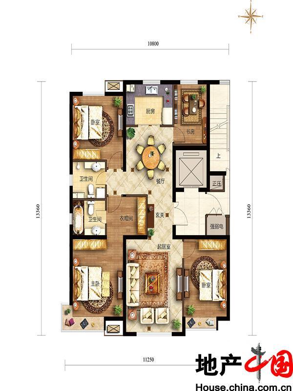 滟澜新宸住宅138四居边户型4室2厅2卫1厨 138.00�O
