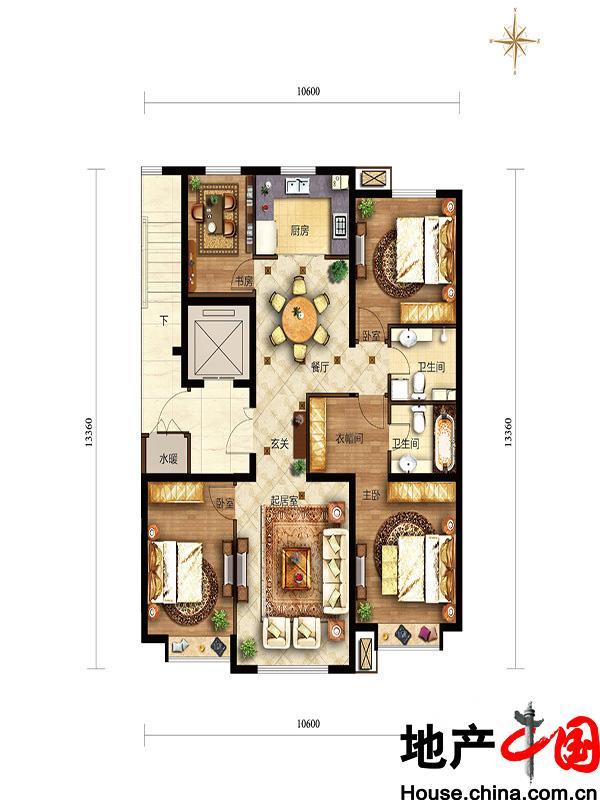 滟澜新宸住宅138四居中间户型4室2厅2卫1厨 138.00�O