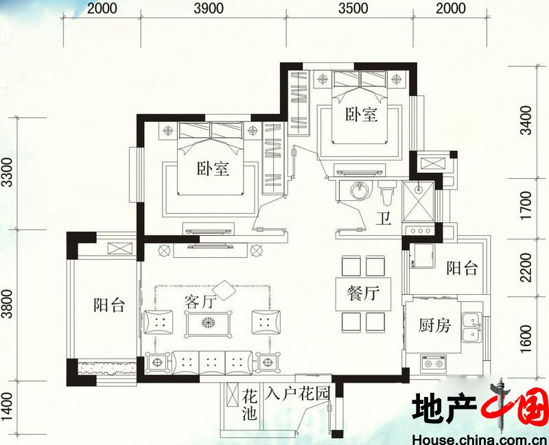 福隆・丽水湾B-11户型图2室2厅1卫 85.10�O
