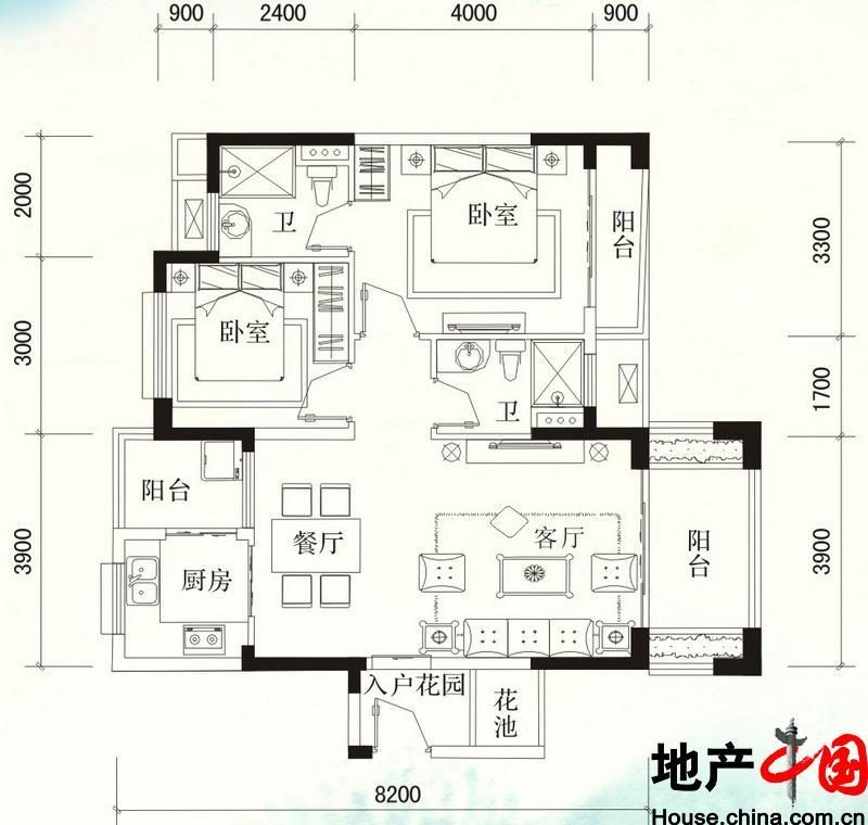 福隆・丽水湾B-12户型图2室2厅2卫 90.71�O