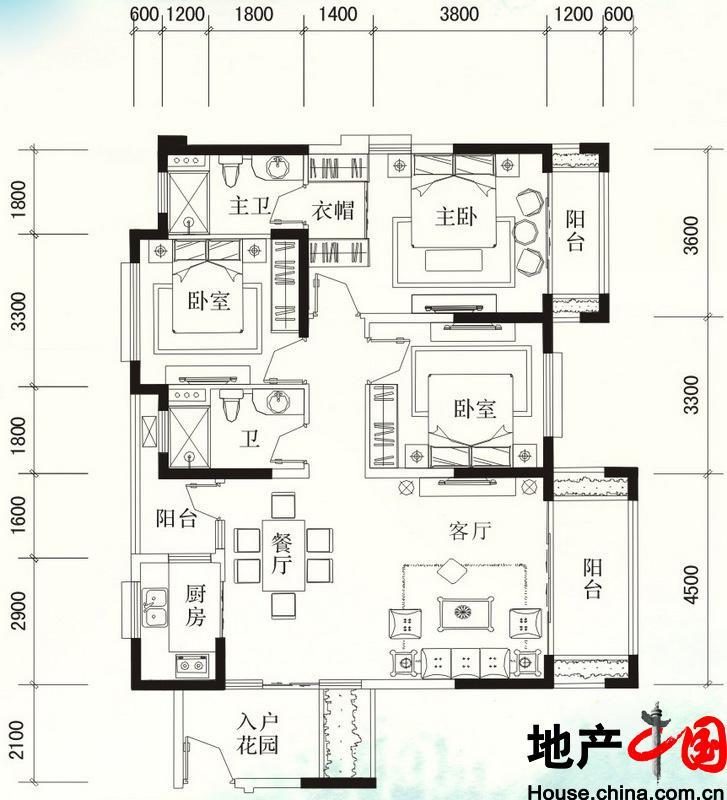 福隆・丽水湾C-2户型图3室2厅2卫 125.30�O