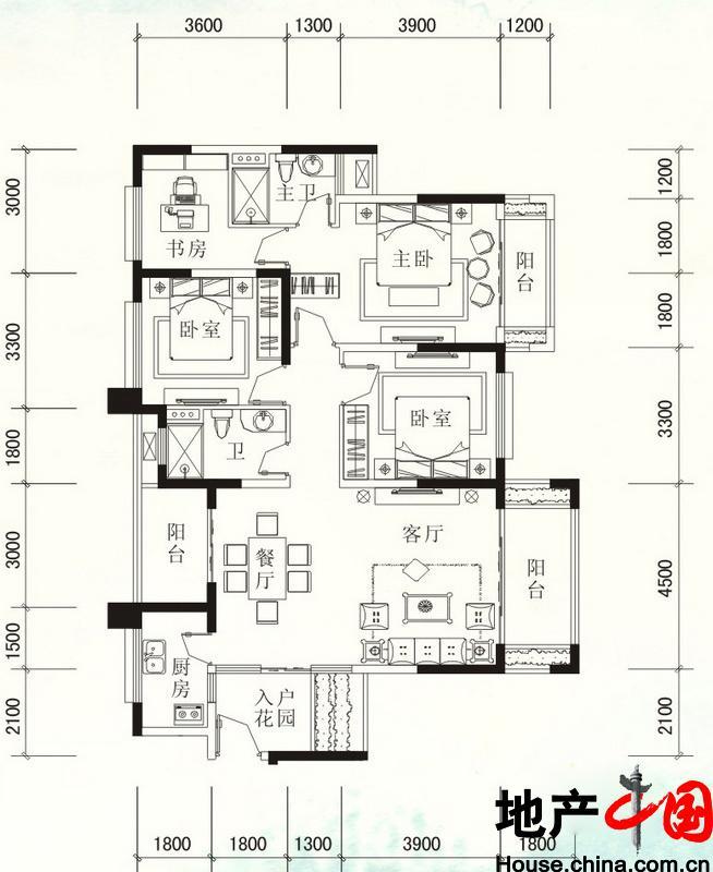 福隆・丽水湾D-1户型图4室2厅2卫 134.47�O