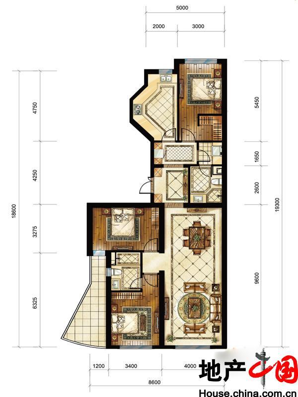 中海枫丹公馆FD-D户型3室2厅2卫1厨 150.00�O