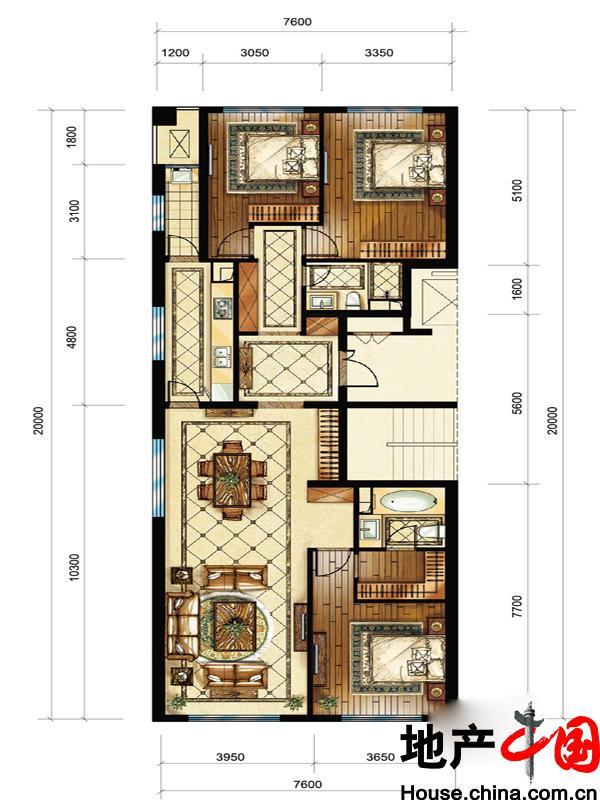 中海枫丹公馆FD-C户型3室2厅2卫1厨 160.00�O