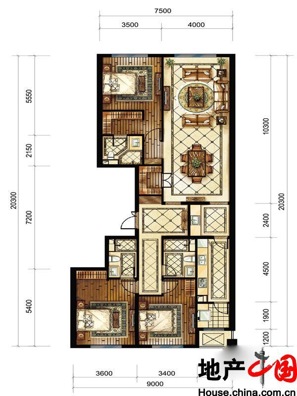 中海枫丹公馆FD-B户型3室2厅3卫1厨 180.00�O