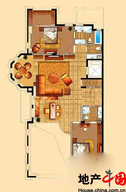 星海湾壹号T4别墅二层户型图6室9厅6卫1厨 525.00�O