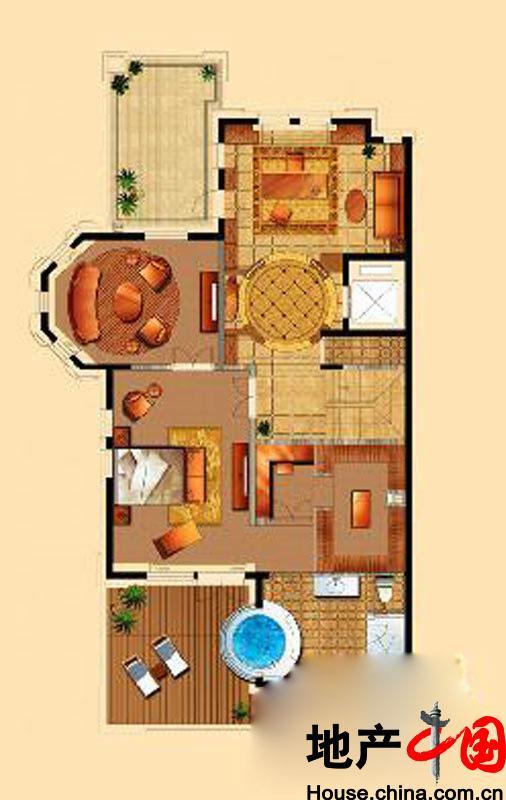 星海湾壹号T4别墅三层户型6室9厅6卫1厨 525.00�O