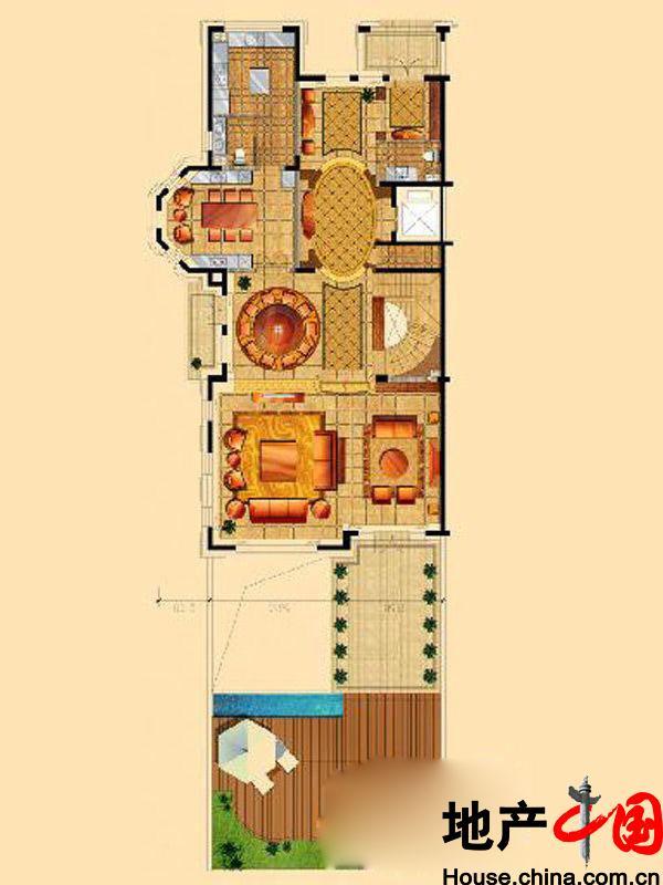 星海湾壹号T4别墅一层户型图6室9厅6卫1厨 525.00�O