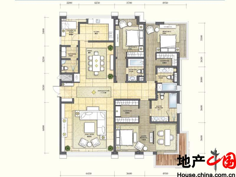 琥珀湾14#楼洋房B户型4室2厅4卫1厨 265.00�O