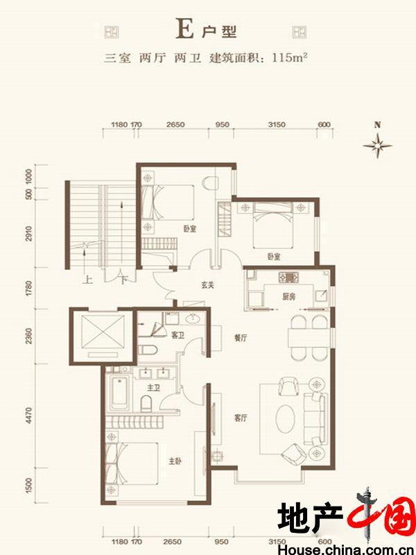 北京城建・世华龙樾E户型3室2厅2卫1厨 115.00�O