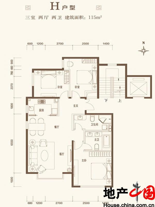 北京城建・世华龙樾H户型3室2厅2卫1厨 115.00�O