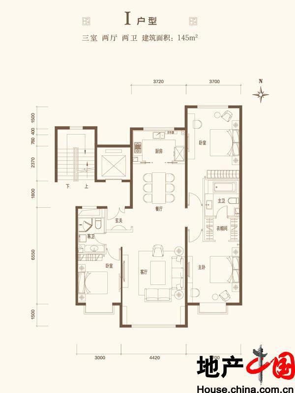 北京城建・世华龙樾I户型图3室2厅2卫1厨 145.00�O