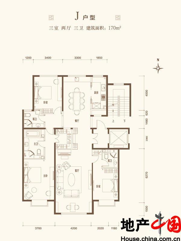 北京城建・世华龙樾J户型图3室2厅3卫1厨 170.00�O