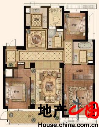 L户型167�O 3房2厅2卫