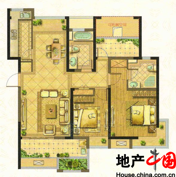 C户型110�O 2室2厅2卫