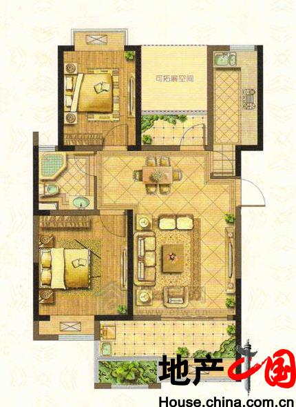 B户型89�O 2室2厅1卫